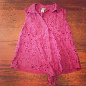 Pink lace tie front top with keyhole back