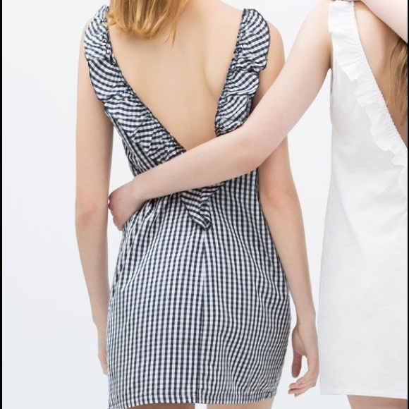 Zara Dresses | Gorgeous Gingham Vback With Frilly Ruffles | Poshmark