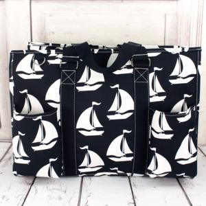 Handbags - Sail Away Navy Trim Large Organizer Tote