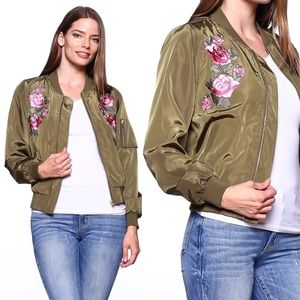 Rose Bomber Jacket - OLIVE