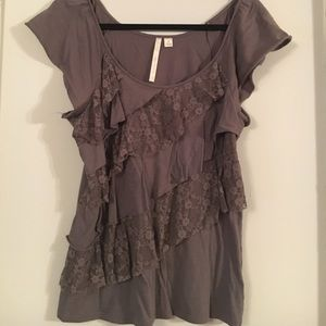 Lauren Conrad gray short sleeve shirt