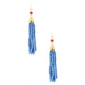 Jewelry - Tassel Seed Bead Earrings in Blue w/ Gold Metal