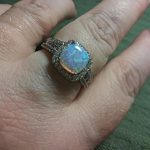 Jewelry - Opal halo with white sapphires silver new sz 8