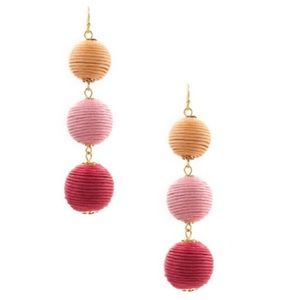 Triple Stack Bon Bon Pink Gold Earrings