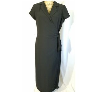 Dresses & Skirts - Made in the USA Short Sleeve Black Faux Wrap Dress