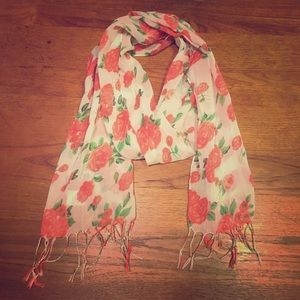 White scarf with pink floral design