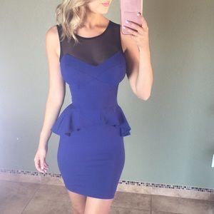 Bebe Blue and Black Mesh Peplum Dress Size XS