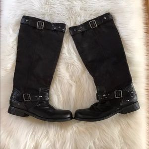 Shoedazzle Tall Black Studded Boots Faux Suede 8.5