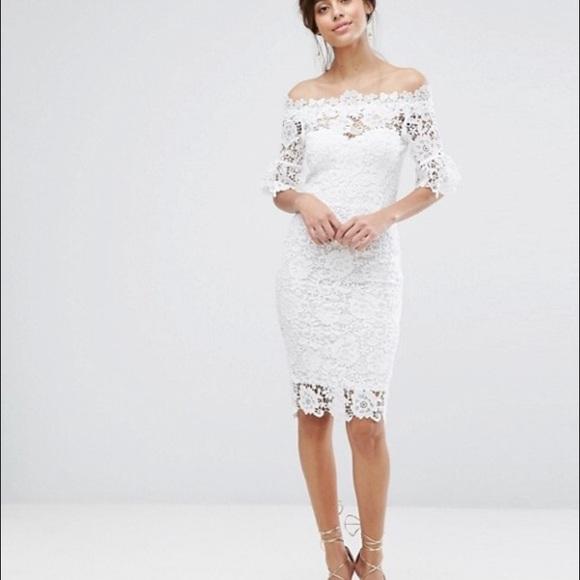 a8dab669c815 Paper Dolls lace Bardot midi dress. M 596ed4b578b31c1dc000c479