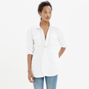 Madewell cargo oversized workshirt in white cotton