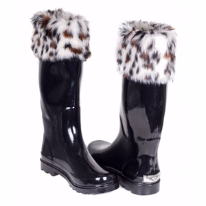 Forever Young Shoes - Women Knee High Faux Fur Cuff Rainboots RB-1804