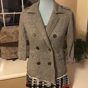 CAbi heather gray double breasted sweater jacket