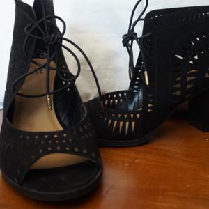 Shoes - Black Lace up heels