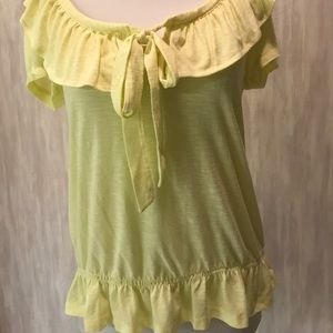 Lena yellow top with ruffle detailing