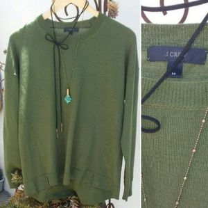 J. Crew Olive Green Detailed Wool Sweater