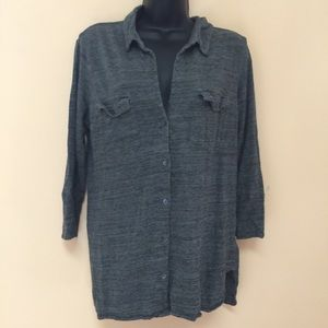 JAMES PERSE Melange Button Down Heathered Green
