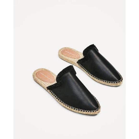 Zara Black Leather Espadrille Mule