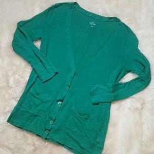 J Crew Boyfriend Linen Green Cardigan Size Medium