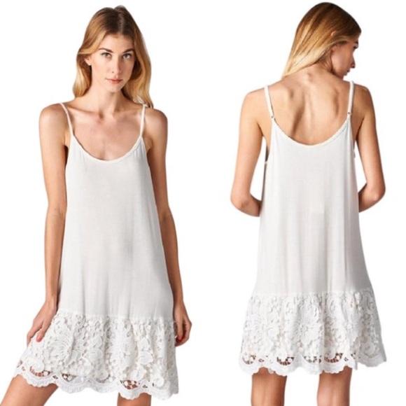eac096c7bce4 ODDI Dresses | White Lace Dress Extender Slip Tank Scalloped | Poshmark