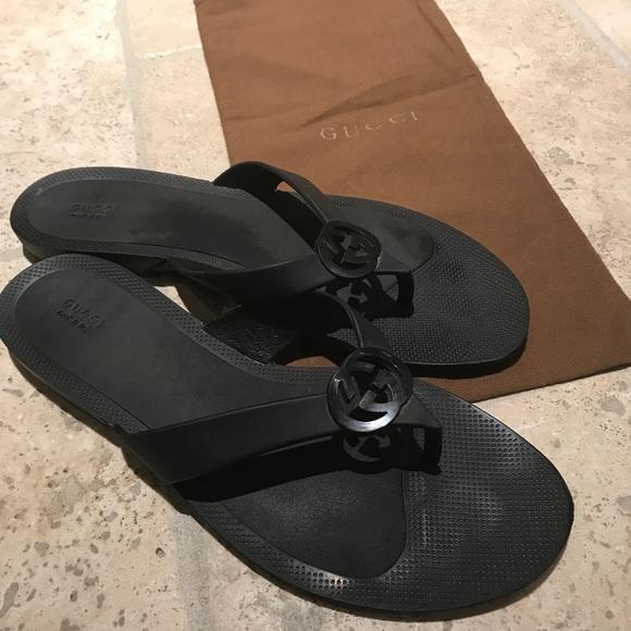 4f53c35a7aac Gucci Shoes - GUCCI Rubber Flip Flops Size 9.5