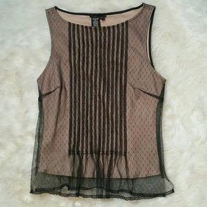 BCBG Sleeveless Lace Overlay Blouse Size Small