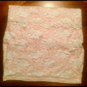 Baby pink with white lace overlay mini skirt sz S