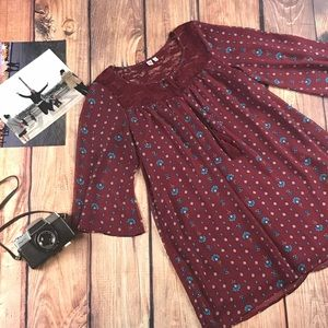Very Cute ¾ Sleeves Floral Lace Shift Dress Boho