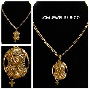 14K Gold Plated Cuban w/ Mary Holding Rosary