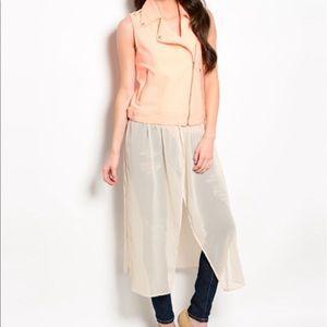 Orange blazer with maxi skirt