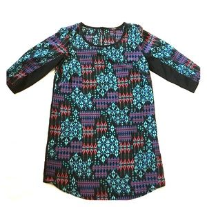 Tribal Print & Black Tunic Top Size Small