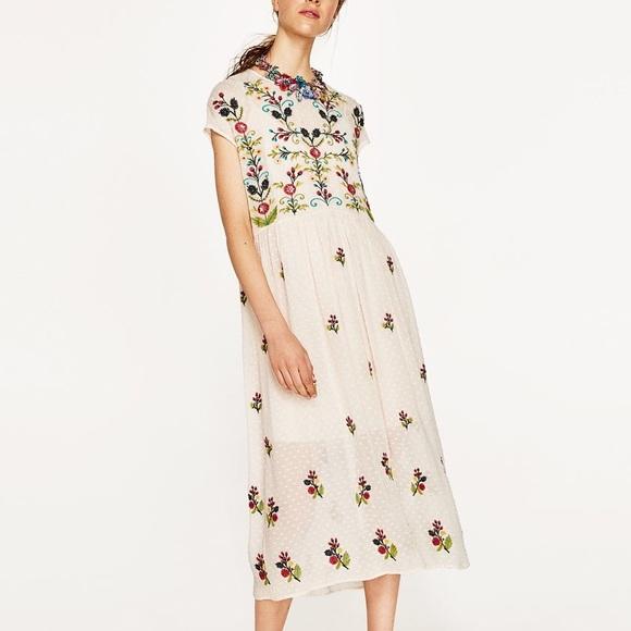 fe59a87a Zara Dresses   Plumetis Embroidered Dress   Poshmark