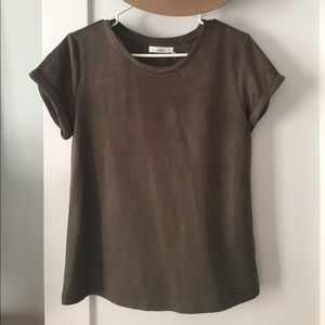 Tops - Olive green suede tee