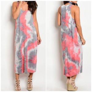 Pink Gray Lightweight Tie Dye Maxi Dress