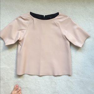 Tibi Leather short sleeve shirt, size 2