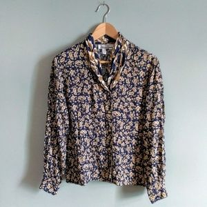 vintage 90's navy floral rayon button front blouse