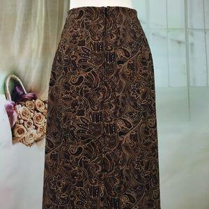 Briggs Skirts - Briggs Brown Paisley Maxi Skirt