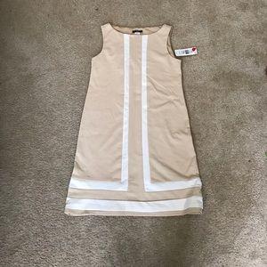 Tan and Cream Shift Dress