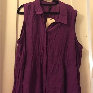 Tops - Purple Collar Sleeveless Shirt