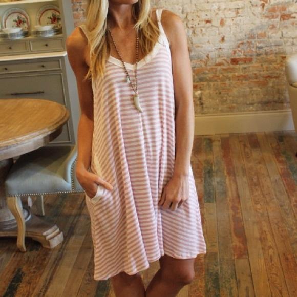 02cee8d28d Light Pink   Ivory Striped Dress