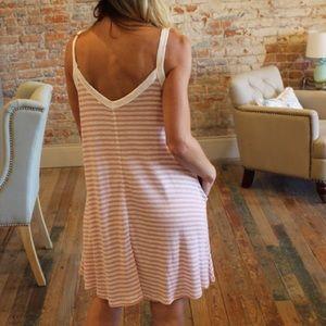 6344a22711 Cherish Dresses - Light Pink   Ivory Striped Dress