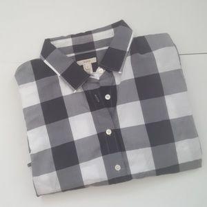 J.Crew Blue White Giant Gingham Button Down Shirt
