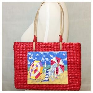Sun 'N' Sand Red Straw Bag Beach Scene Panel NWOT