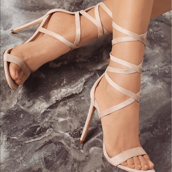 Shoes - Nude or Olive Lace Up heels
