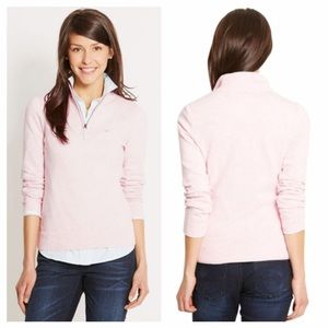 Vineyard Vines Tipped 1/4 Zip Sweater Pastel Pink