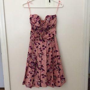 Express Pink Floral Strapless Dress (0)