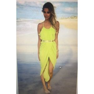 Yellow bohemian maxi split dress ( no belt )