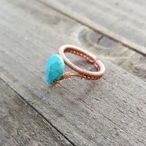 Turquoise Copper Wire Wrapped Ring Handmade