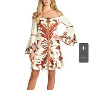 Dresses & Skirts - PRINT OFF SHOULDER MINI DRESS BELL SLEEVES