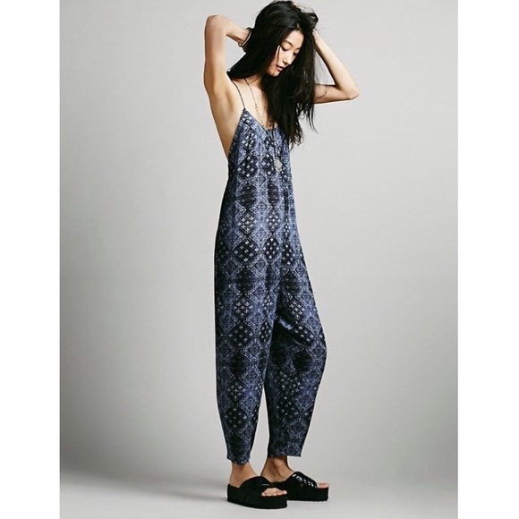 d4231ab9d265 Free People Pants - Free People Indigo Print Harem Jumpsuit