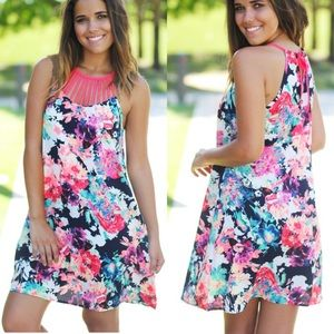 Neon Floral Mini with Strap Neck